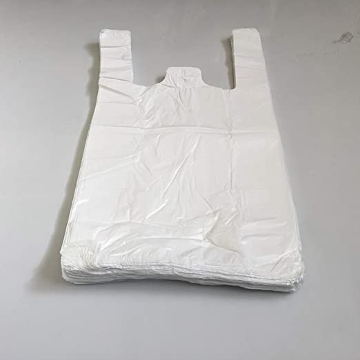"""100 x WHITE PLASTIC VEST CARRIER BAGS 13/""""x19/""""x23/"""" 22mu STRONG QUALITY"""