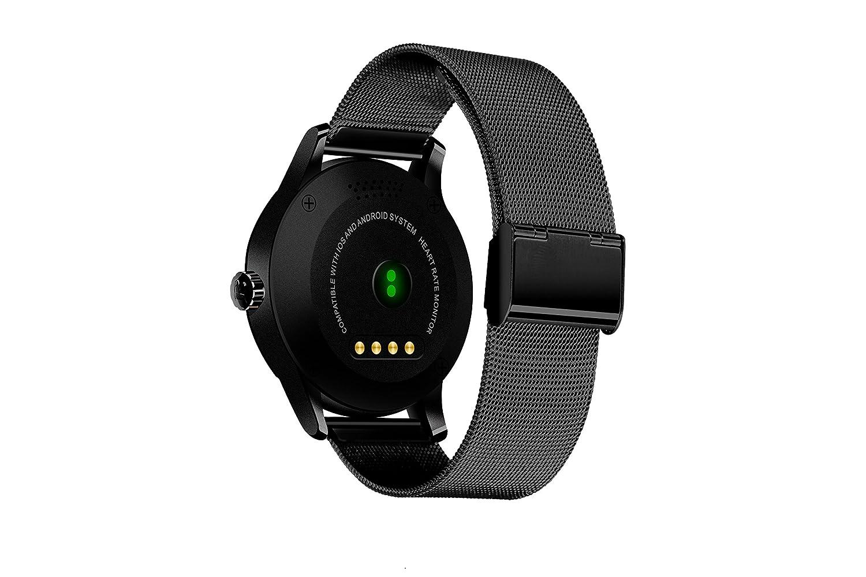 Reloj inteligente, Rasse® k88h redondo reloj inteligente Monitor de ritmo cardíaco reloj de pulsera con cámara remota reloj Bluetooth para Android y iOS ...