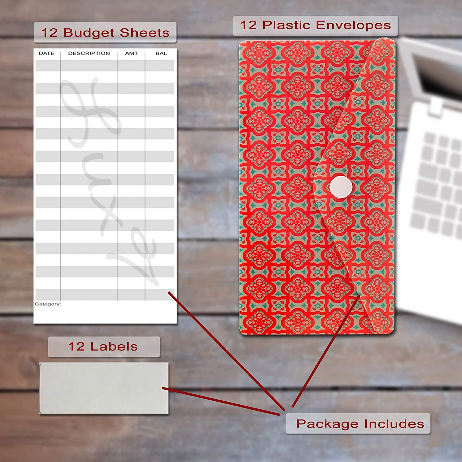 by Lux7 Coupon Organizer Reusable w Labels and Budget Sheets w Snap Button Closure Cash Envelope System Budget Planner Bill Planner