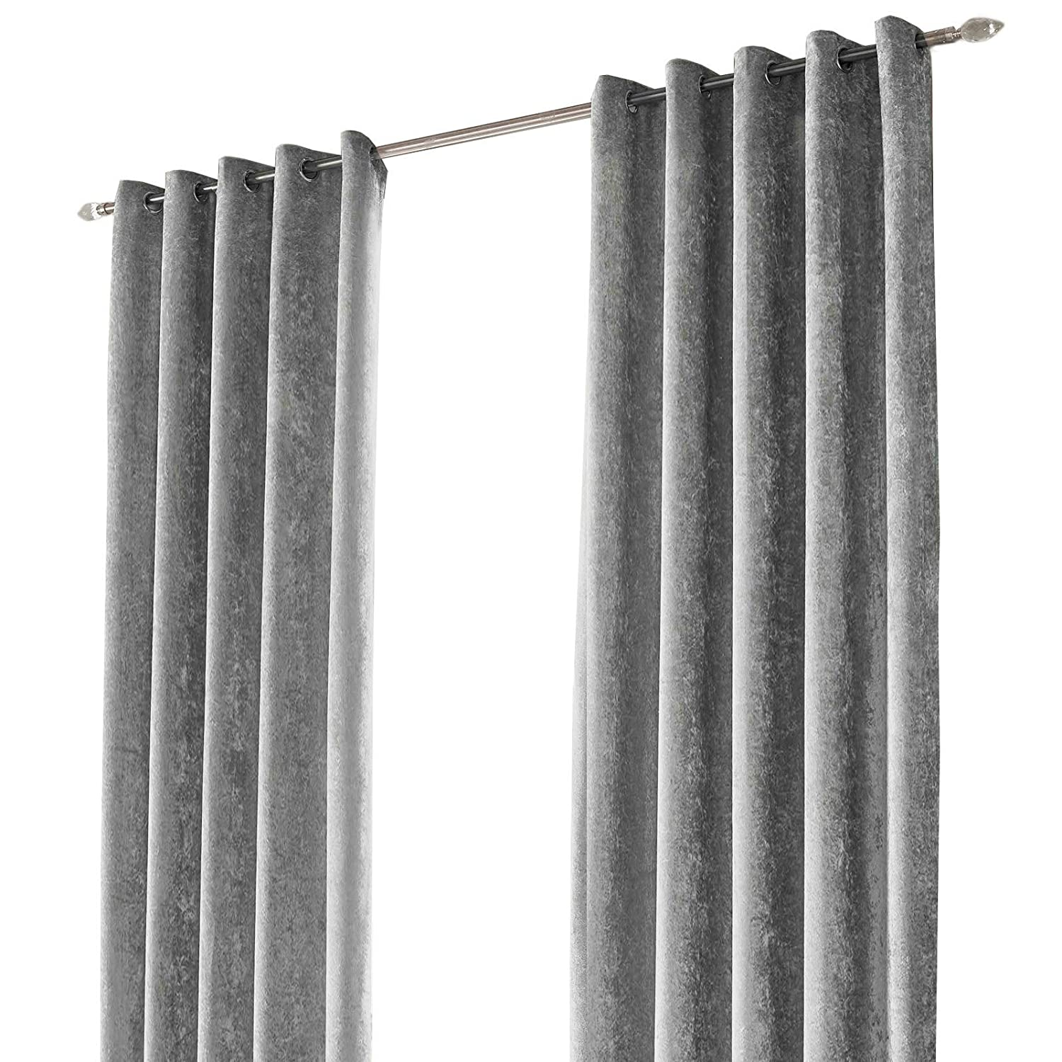Sienna Silver Grey Crushed Velvet Eyelet Ring Top Pair of Fully Lined Curtains - 46
