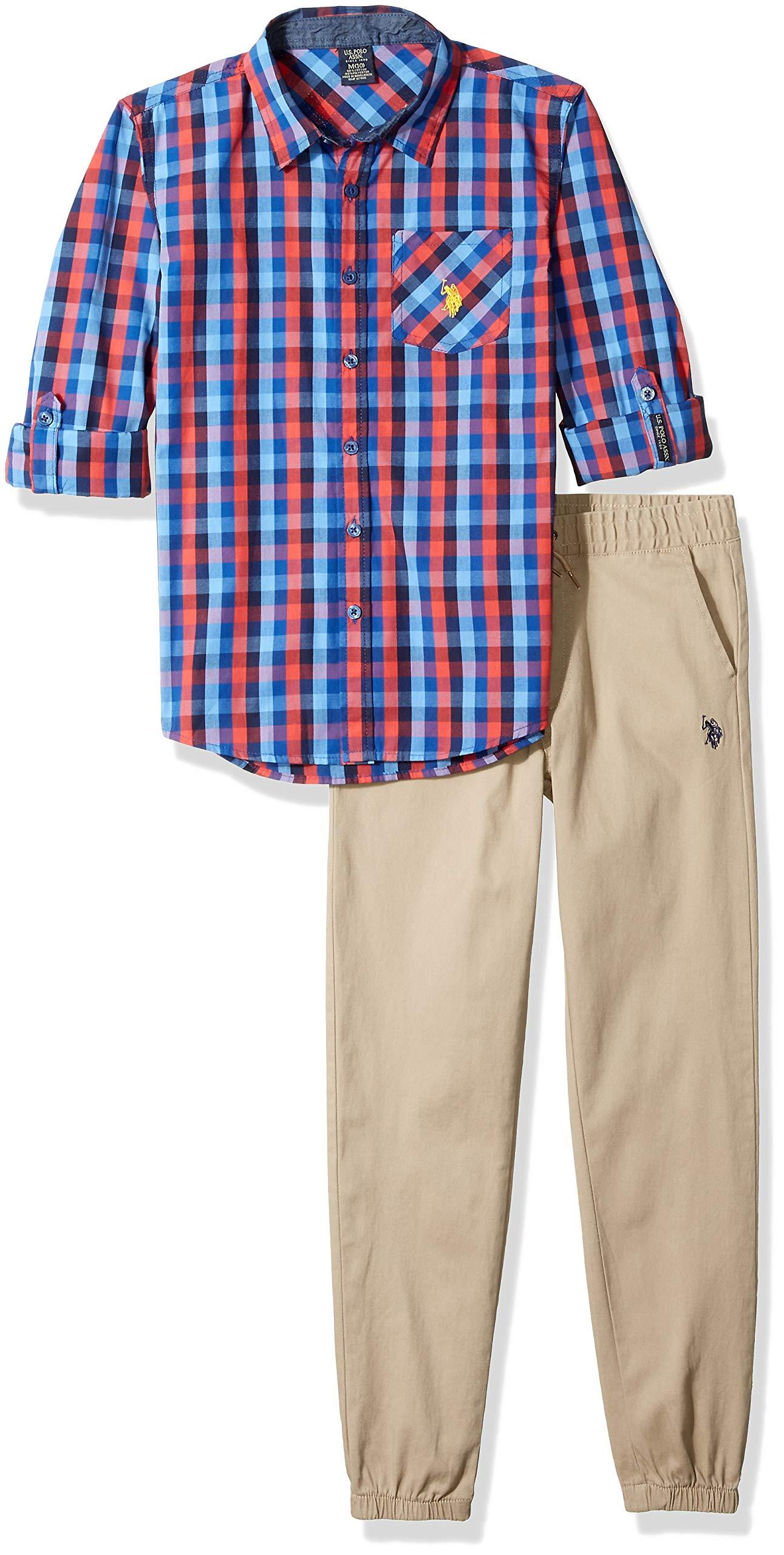 U.S. Polo Assn. Boys' Big Long Sleeve Shirt and Pant Set, red/Blue Multi Plaid, 8