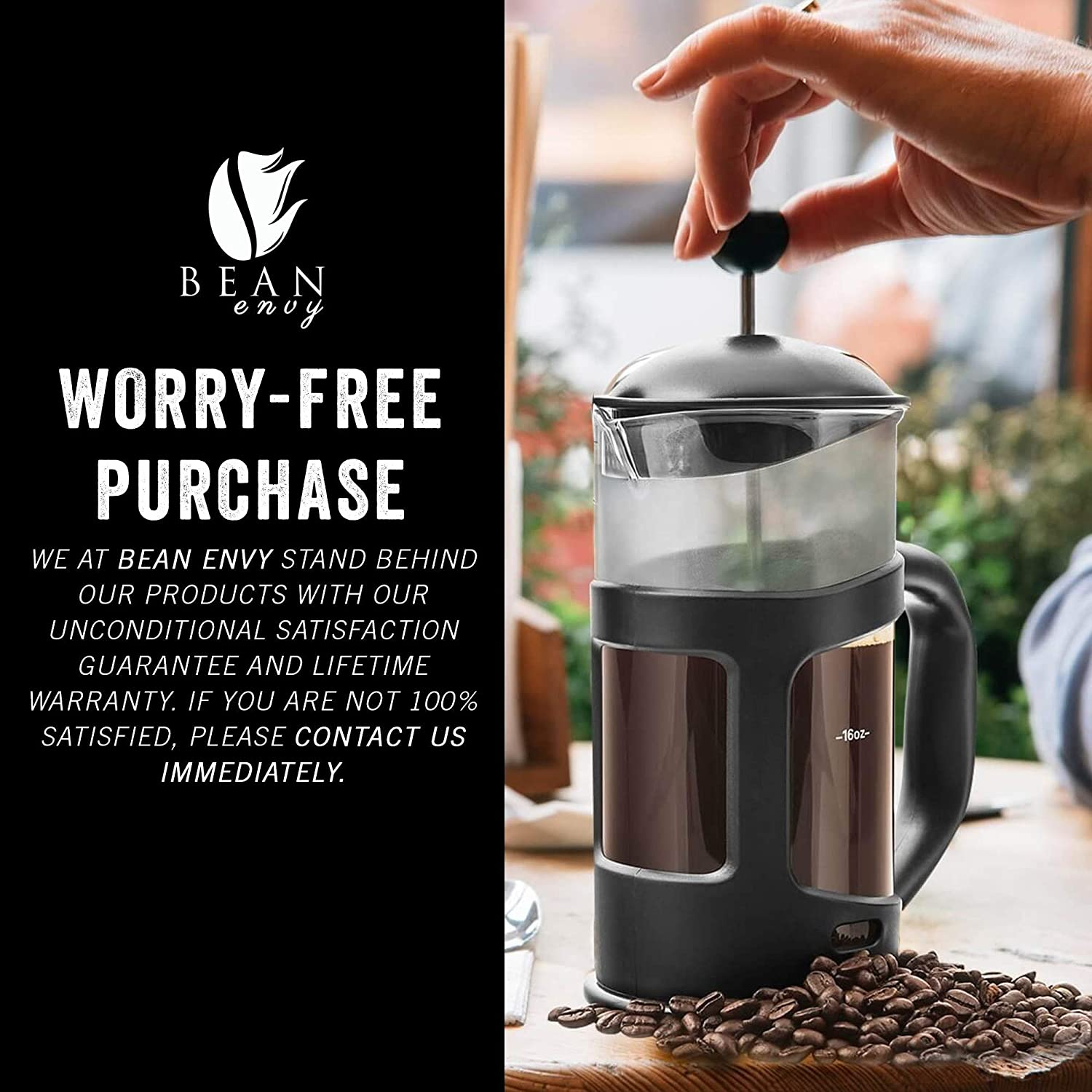 Professional Grade 34 oz French Press Coffee Maker  Premium Milk Frother With Stainless Steel Stand