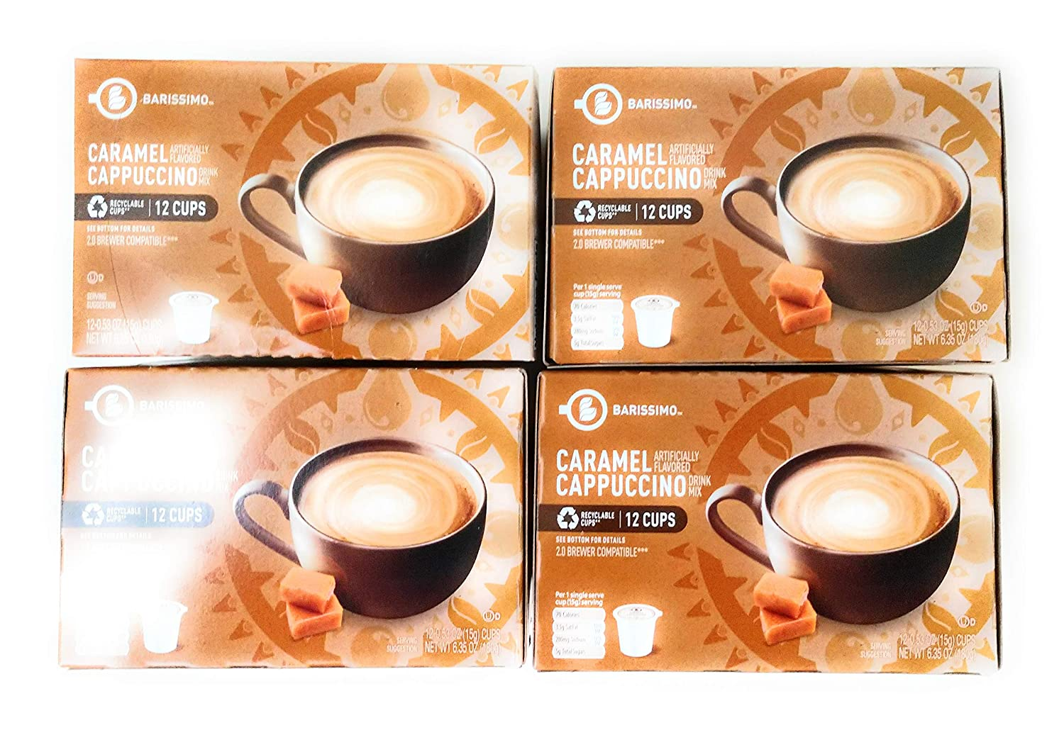 Barissimo Caramel Cappuccino Coffee Drink Mix K-Cup Compatible 4 boxes 48 pods total