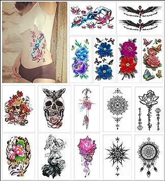 COKOHAPPY 16 hoja Temporales Tatuaje para Girl para Mujer - Grande ...