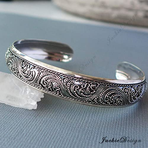 3b604ac3b65 Image Unavailable. Image not available for. Color  12mm Thick Wave Pattern  Bali Sterling Silver Bangle Cuff Bracelet ...