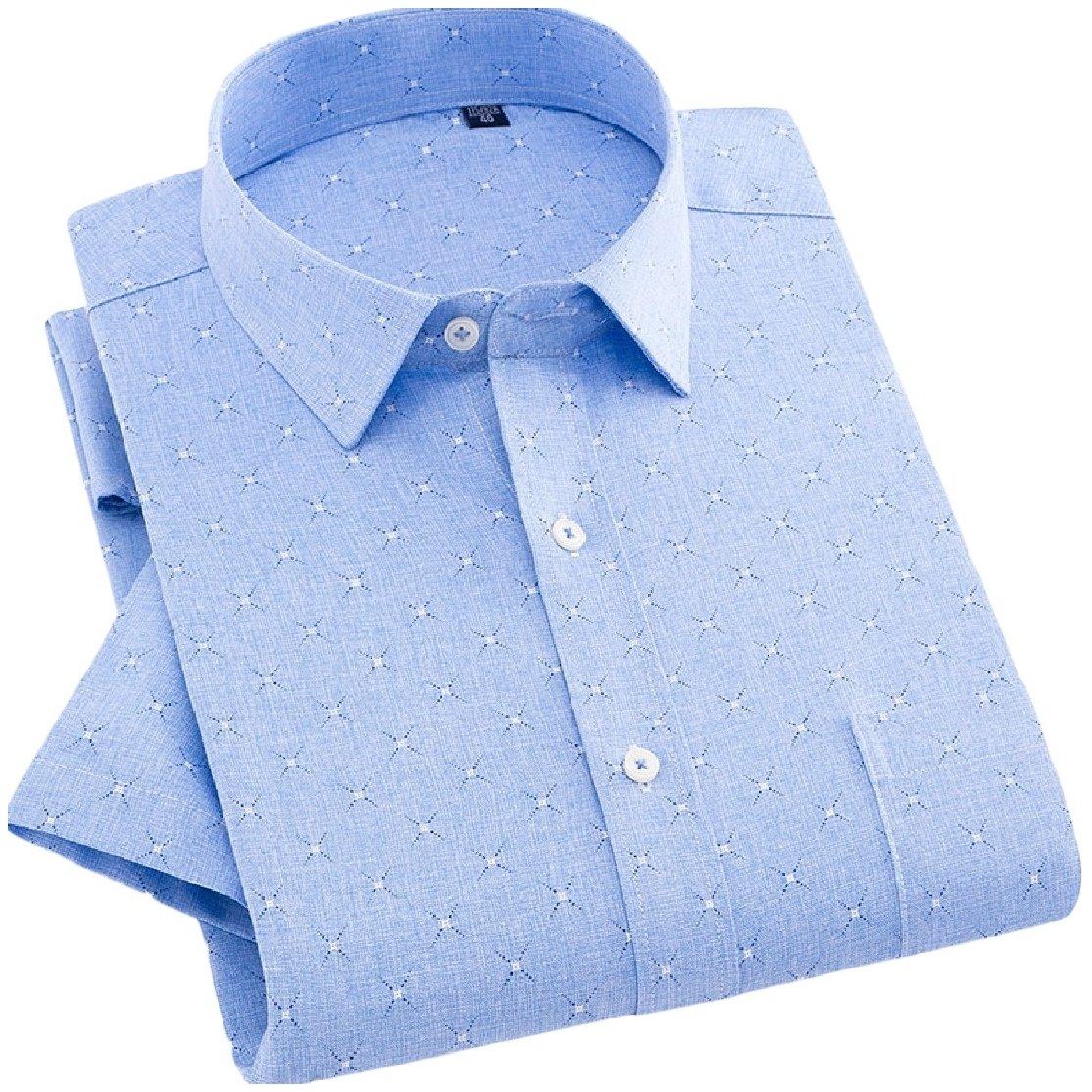 YUNY Mens Business Cardi Short Sleeve Linen Half Sleeve Square Collar Shirt AS13 3XL
