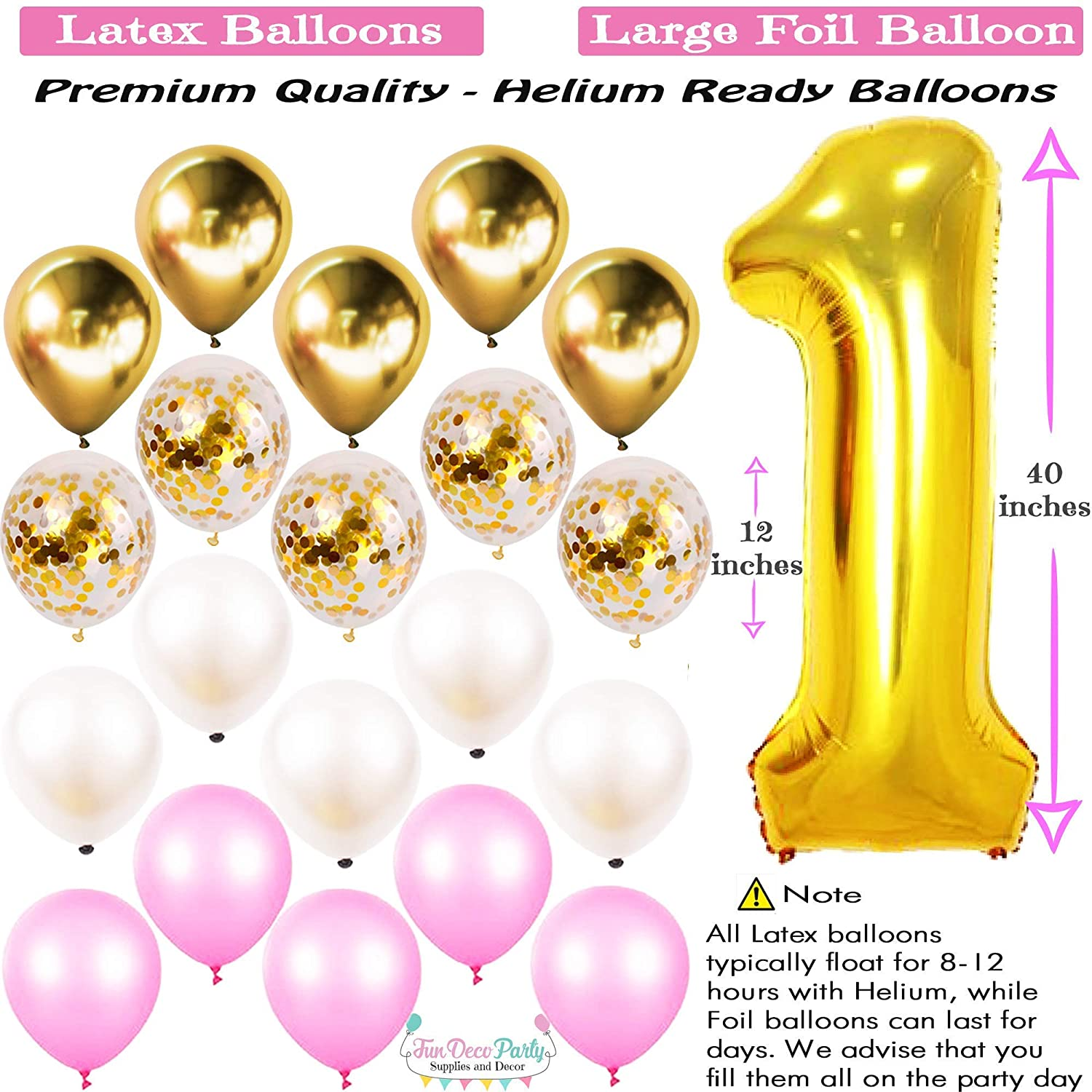 1 Year Cake Topper Happy Birthday Banner Number Mylar Balloon 1st Birthday Girl Decorations Party Supplies Set Princess First Pink n Gold Girls Theme Kit Paper Decor Latex and Metallic Balloons