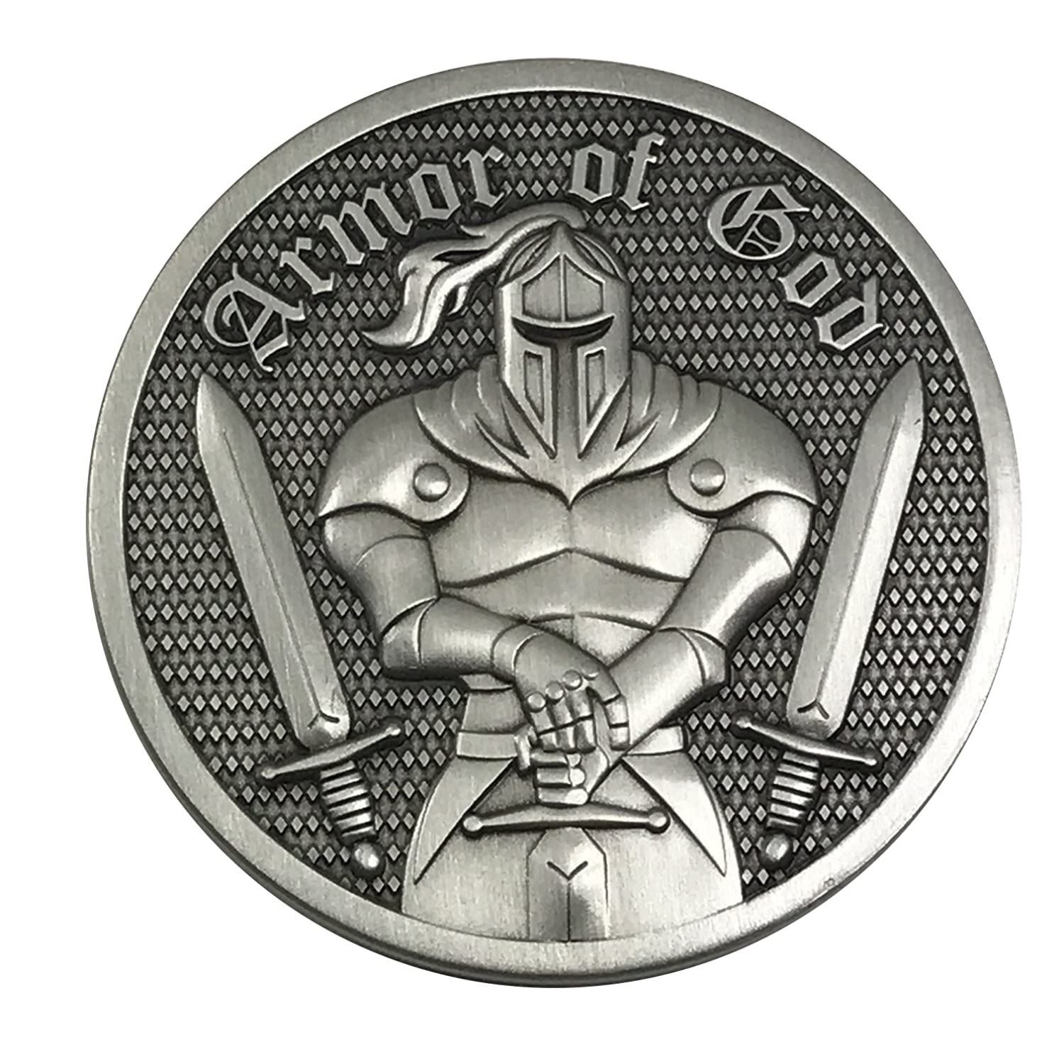 Premium Armor of God - Ephesians 6:11 - 3D Challenge Coin with Antique Silver finish