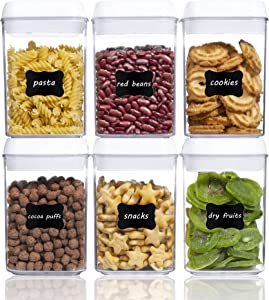 Airtight Food Storage Containers, Vtopmart 6 Pieces Small BPA Free Plastic Cereal Containers with Easy Lock Lids,for Kitchen Pantry Organization and Storage,Include 24 Labels