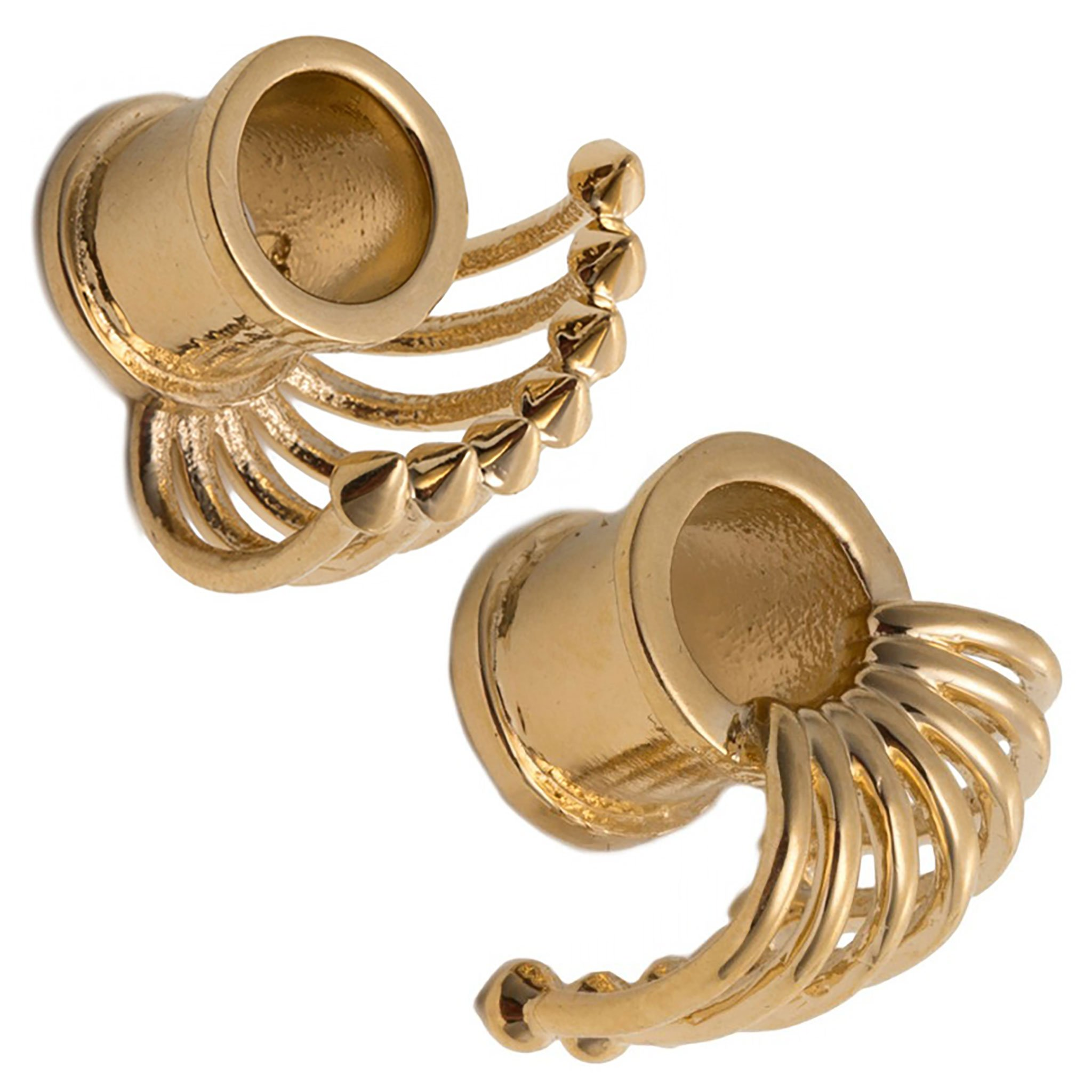 Steel Navel Body Jewelry Pair of Gold Plated Double Flared Bondage Cage Eyelets: 7/8''
