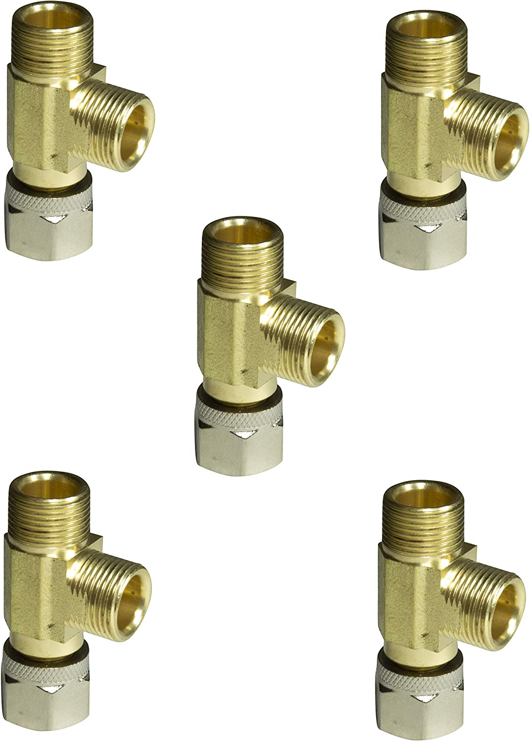 "Lead Free Brass Angle Stop Add-A-Tee Valve 3/8"" Compression Inlet x 3/8"" Outlet x 3/8"" Outlet Leak Proof Easy Connect Tee (5 Pack)"