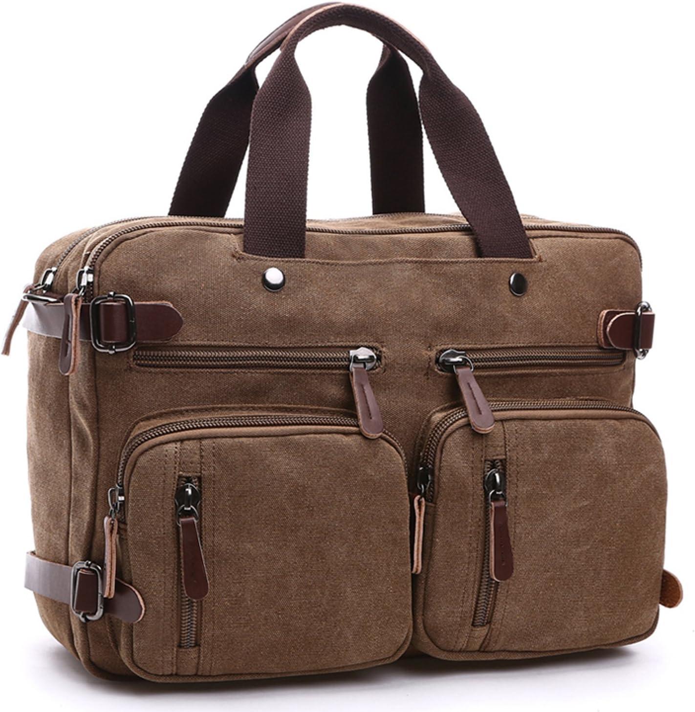 Men Canvas Briefcase Multi-Pocket Backpack Work Laptop Messenger Shoulder Bag