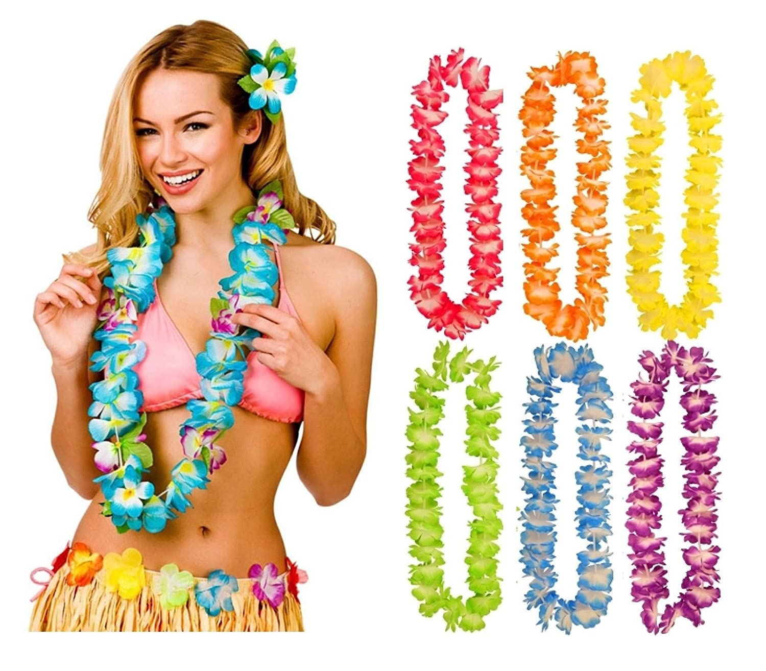 LED HAWAIIAN LEI HULA LIGHT UP FLOWER GARLANDS NECKLACE BEACH PARTY COSTUME LOT