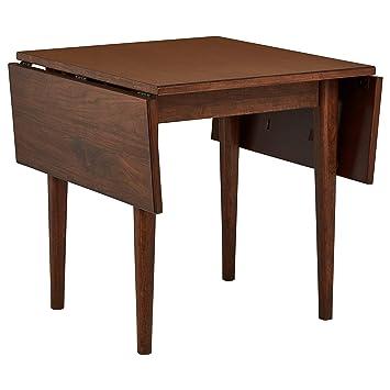 Rivet Federal Mid-Century Modern Drop Leaf Dining Kitchen Table, Walnut Wood
