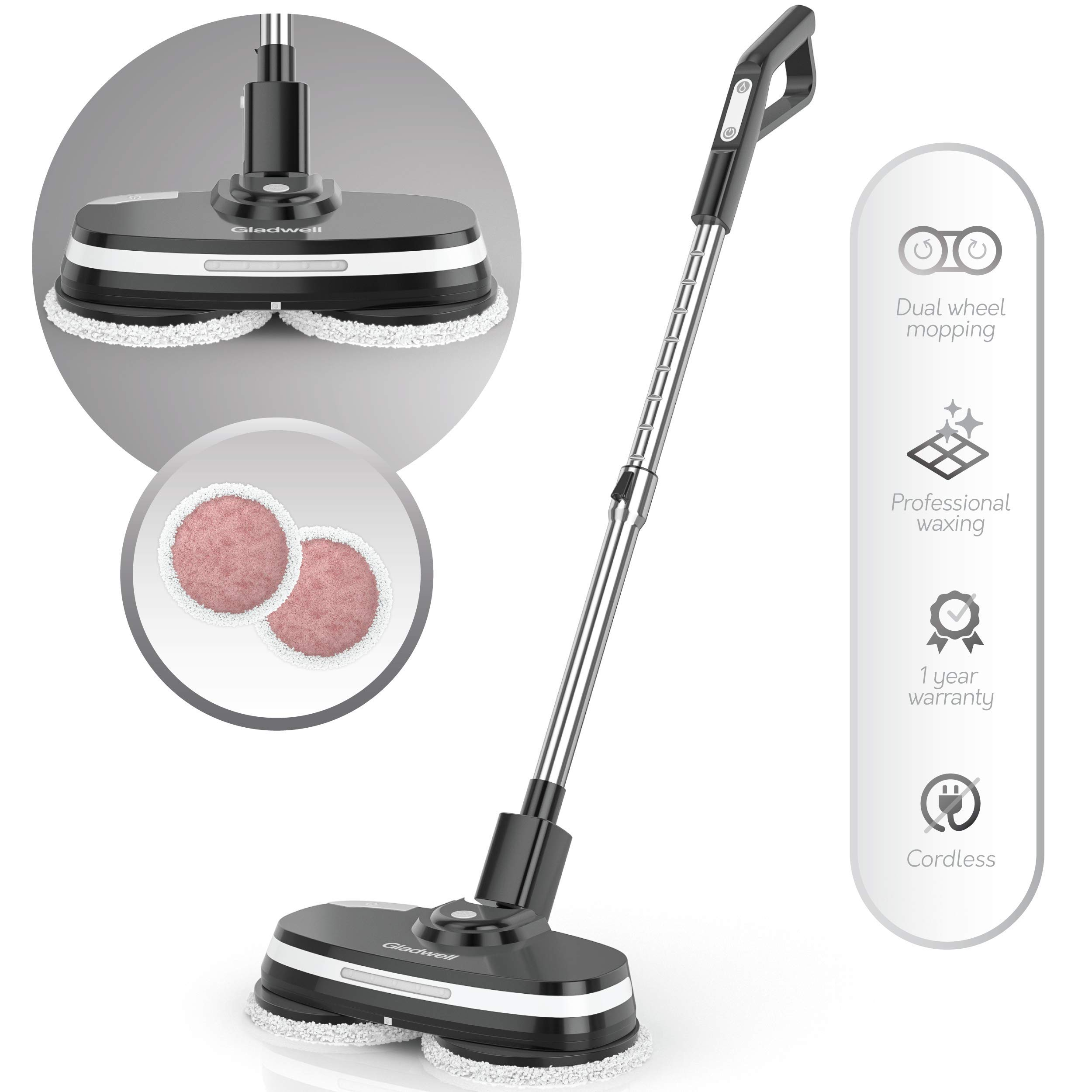 Gladwell Cordless Electric Mop - 3 In 1 Spinner, Scrubber, Waxer Quiet, Powerful Cleaner Spin Scrubber & Buffer, Polisher For Hard wood, Tile, Vinyl, Marble, Laminate Floor - 1 Year Warranty - Black by Gladwell (Image #1)