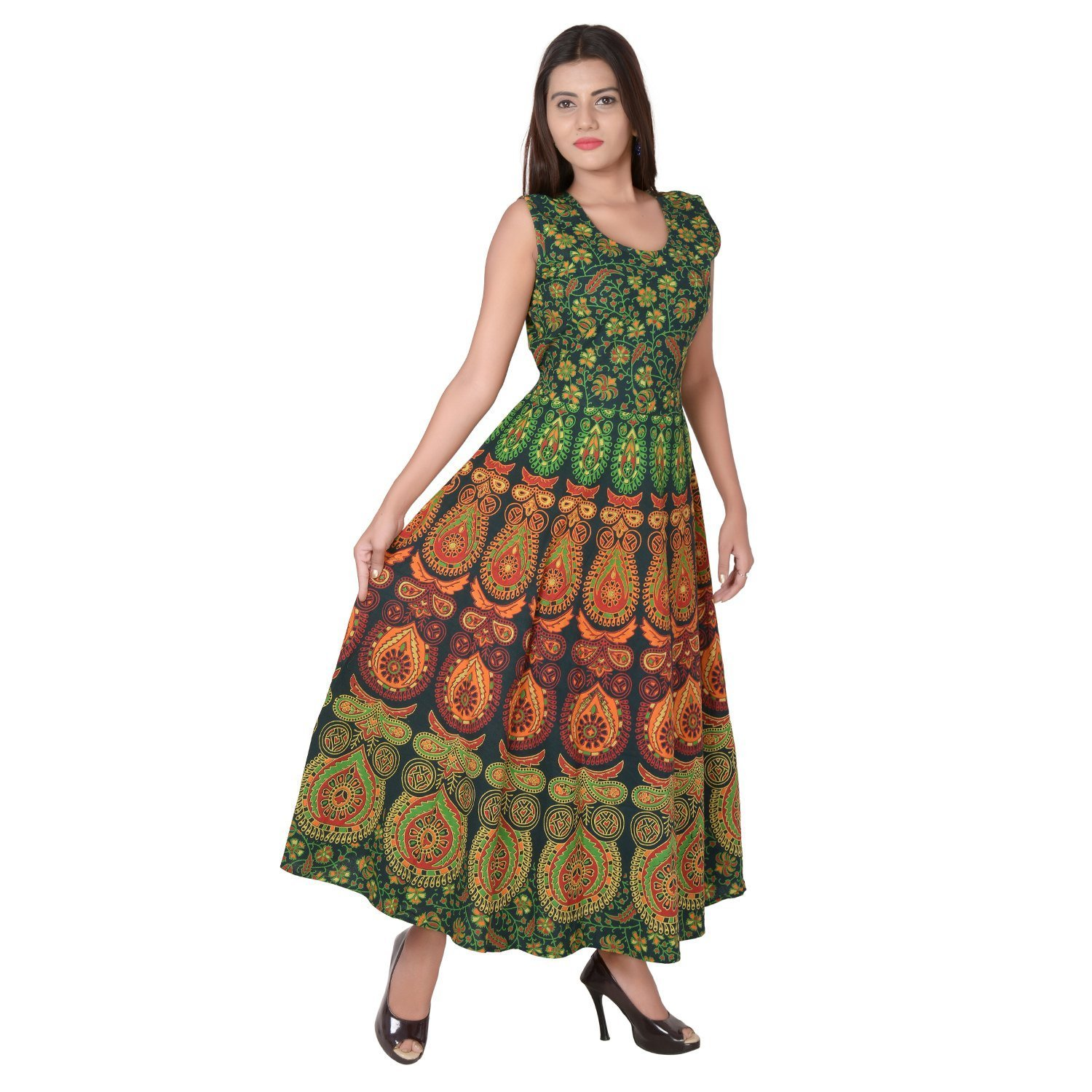c246a0f02ab457 VARISAZ Women's Cotton Long Dress (KHUSHI1001, Green, Medium): Amazon.in:  Clothing & Accessories