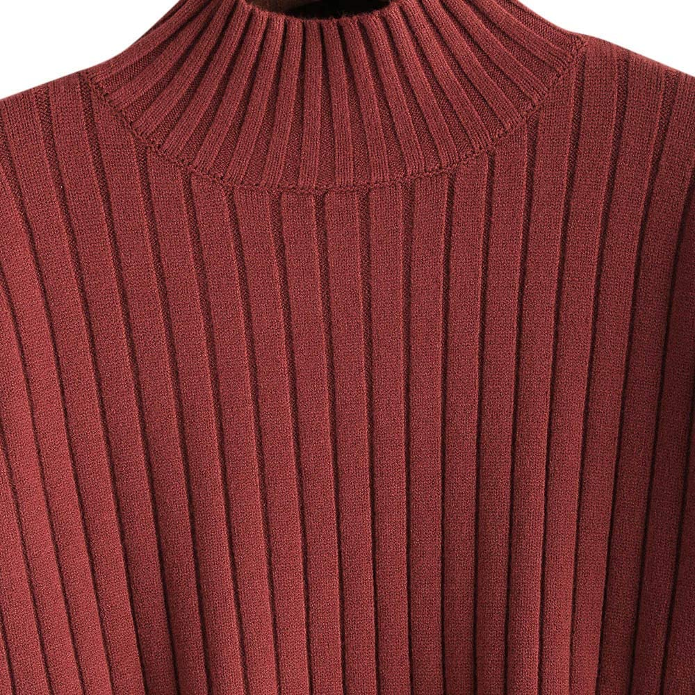 ZAFUL Ladies Mock Neck Drop Shoulder Sweater Chunky Knitted Jumper Pullover Tops