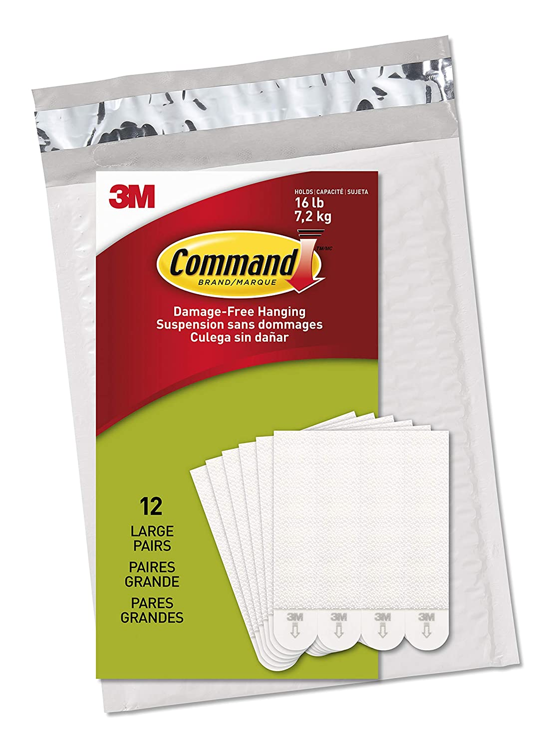 Command Picture Frame Hanging Strips Value Pack Large White 12 Pairs in Easy to Open Packaging