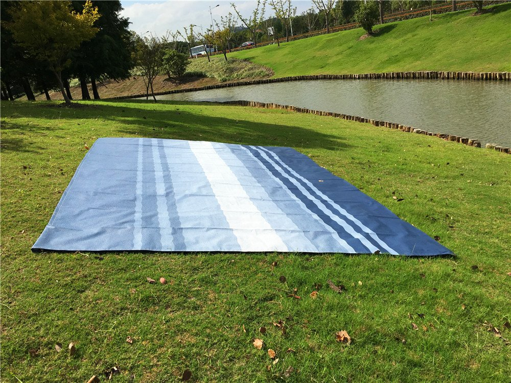 Fabric Size 15 Feet 2 Inch, Blue Stripe Color RV Camper Awning Fabric Replacement for 16 Feet Roll Out Awning