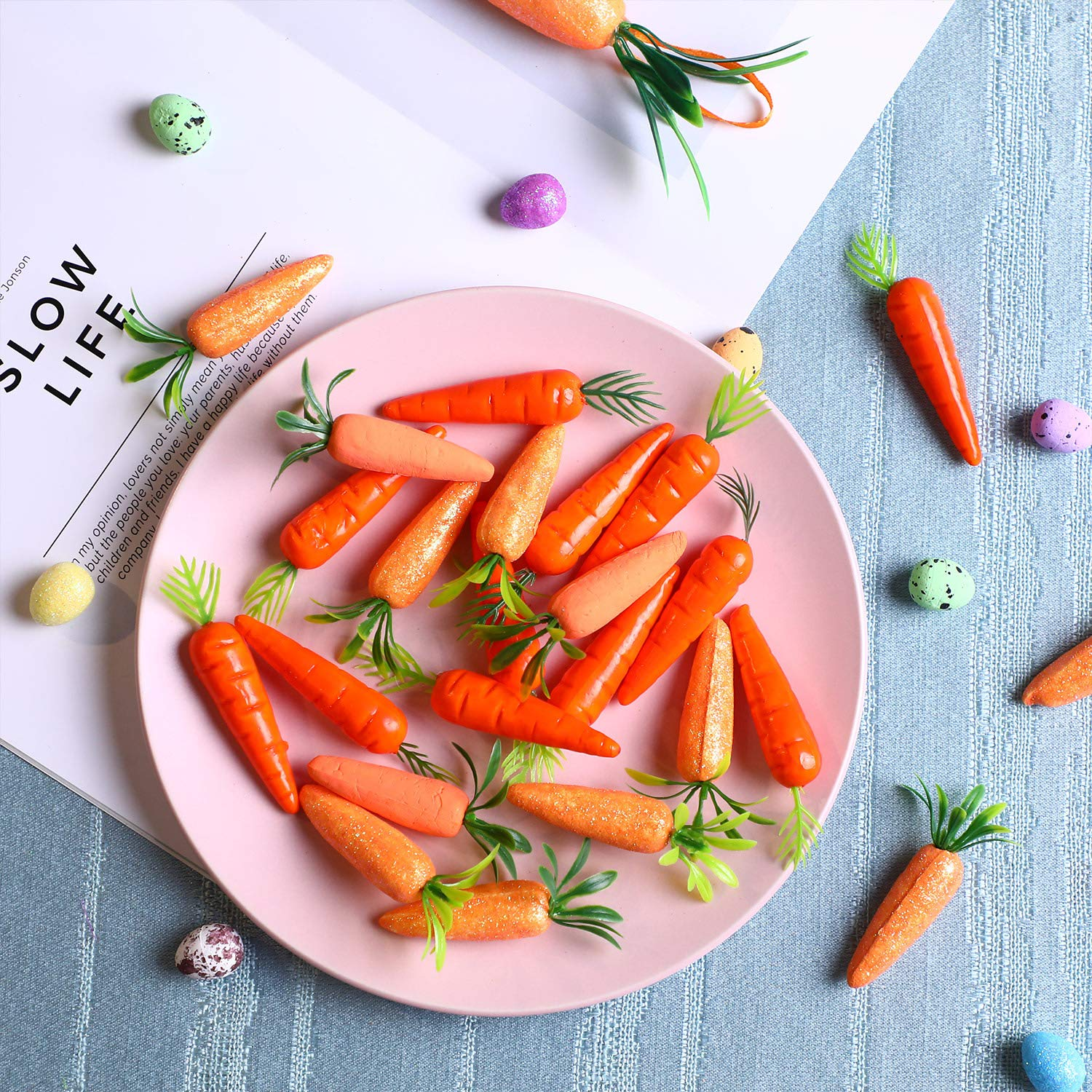 Zonon Easter Carrots Mini Plastic Artificial Carrot Ornaments for DIY Crafts Home Kitchen Party Decorations 100 Packs