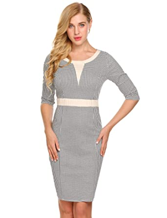 ce09f3a98c49 Women Half Sleeve Plaid Business Office Pencil Dress Vintage Style Bodycon  Dress  Amazon.co.uk  Clothing
