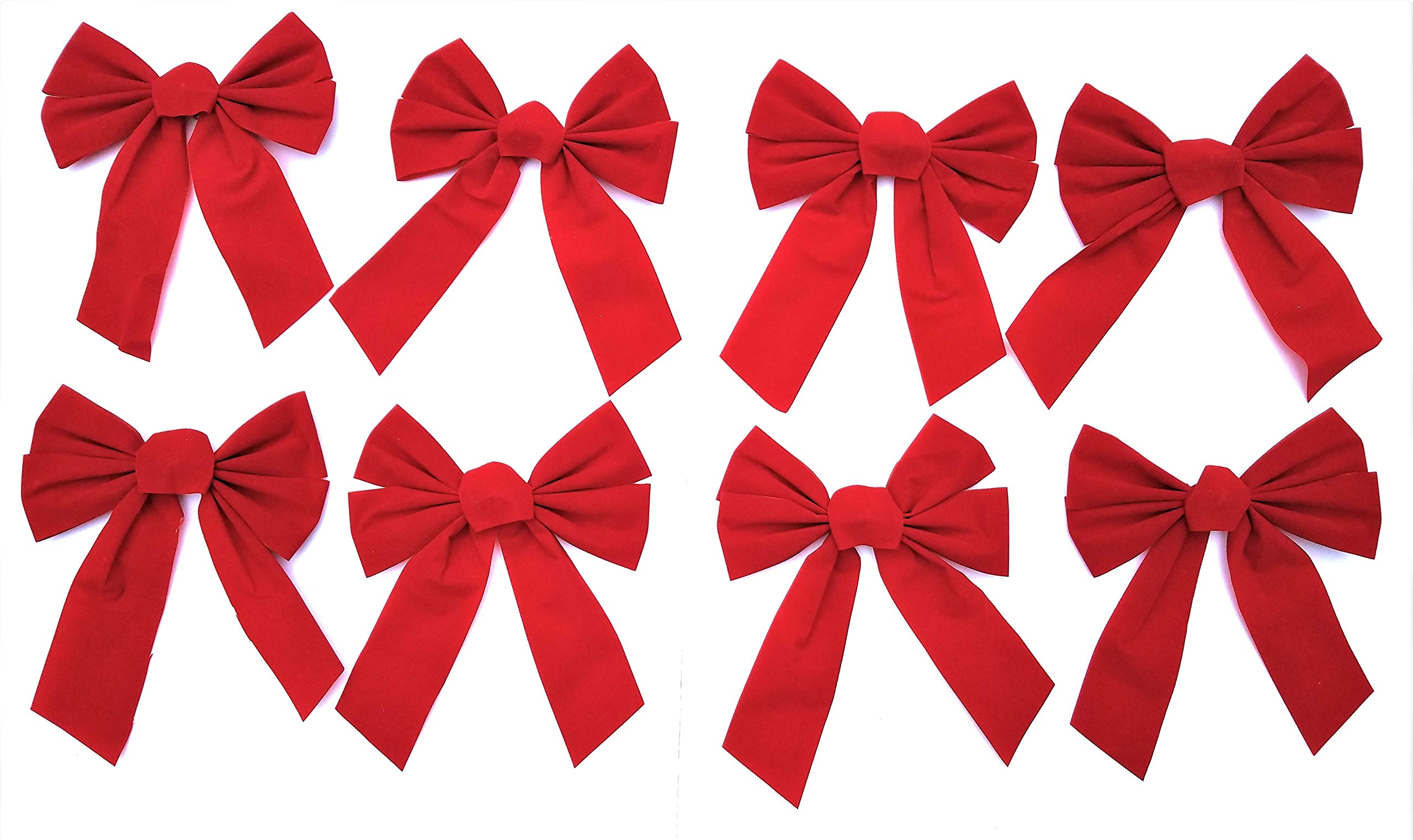 """8 Pack Red Velvet Christmas Holiday Bows- 7.9"""" Wide x 10"""" Long - Just The Right Size Bow for Home Decorating, Gift Baskets, Wreaths, Presents, Xmas Tree, Windows and More"""