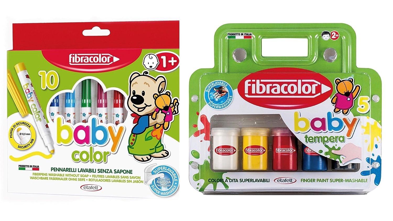 Fibracolor Baby Color Fiber Coloring Stylos (pack de 10) plus Baby Color Tempera Finger Paint (pack de 5) Super Washable Etafelt