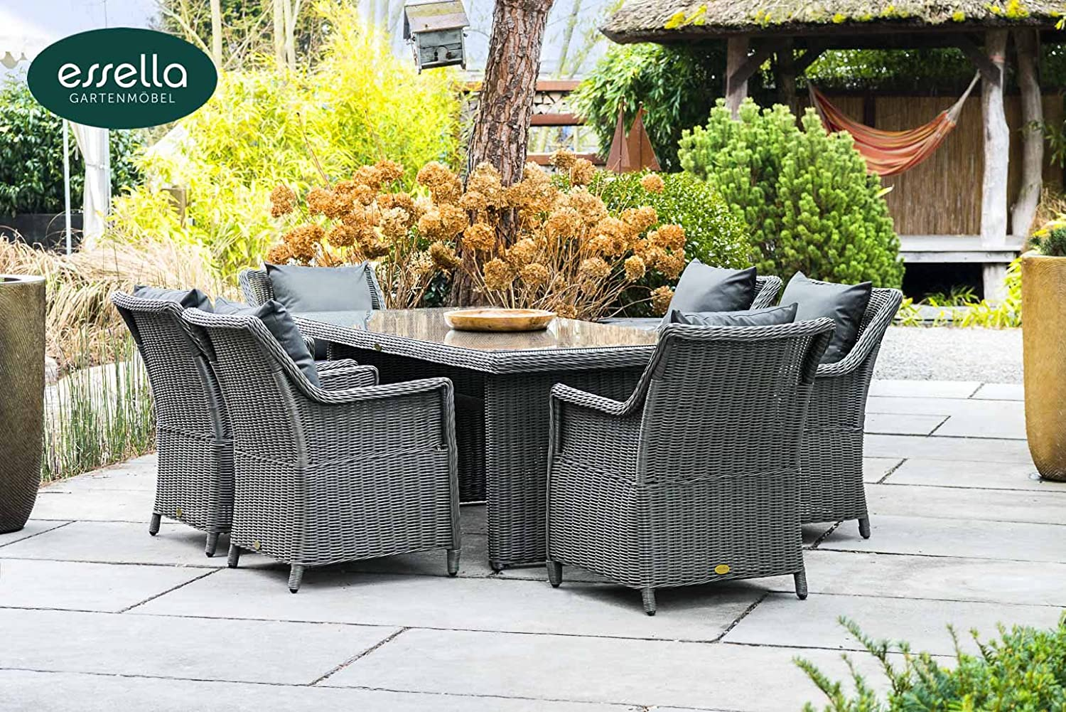 polyrattan sitzgruppe dubai 6 personen rundgeflecht grau rund gartenm bel. Black Bedroom Furniture Sets. Home Design Ideas