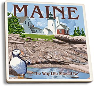 product image for Lantern Press Maine - The Way Life Should Be (Set of 4 Ceramic Coasters - Cork-Backed, Absorbent)