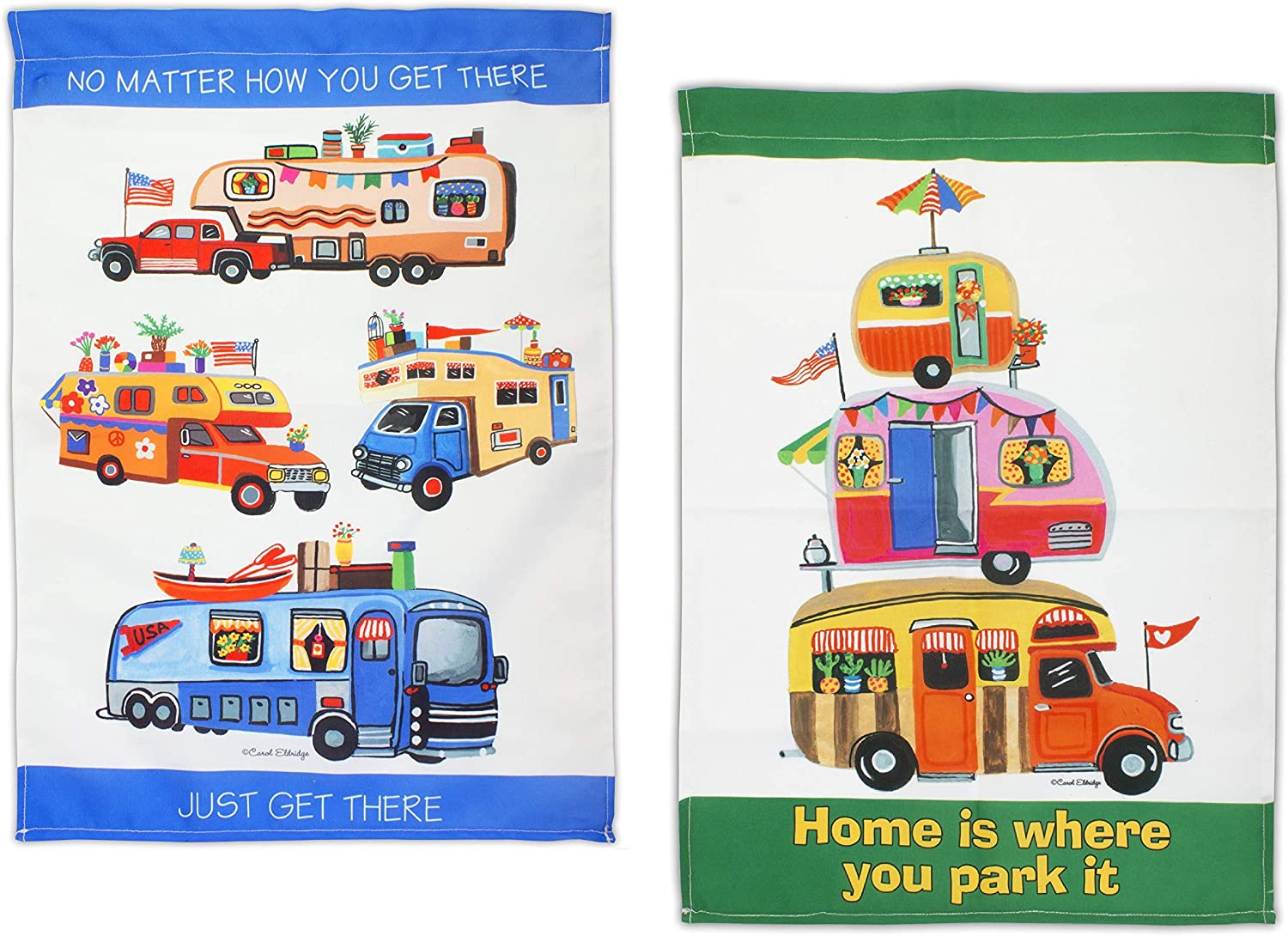 Camper Garden Flag Set | 2 Weather Resistant Camping Flags for Campers, RV, Campsite | Just Get There and Home is Where You Park Theme