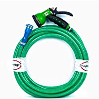 "Pepper Agro Garden Watering Car Wash 8 Mode/Pattern Spray Gun with Braided Hose Pipe 1/2"" inch, 20 Meter"