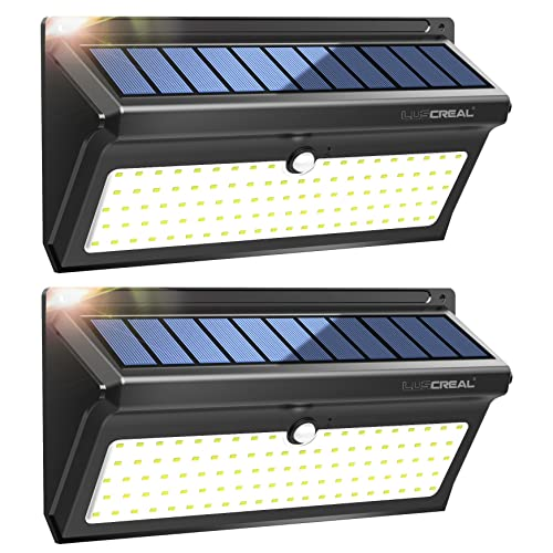 Focos Led Exterior Solares 100LED Luces Solares Led Sensor Movimiento 2400mAh de Súper Brillantes con Gran Ángulo 120 Impermeable Lámparas Solares 2 Paquetes Luscreal