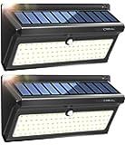 Lampada Solare da Esterno, 100 LED Super Luminosa Luci Solari con Sensore di Movimento 2400mAh, Wireless Impermeabile Lampade Solari a Led da Esterno con Grandangolo(2 Pacchi)-LUSCREAL