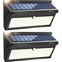 Lampe Solaire Exterieur,100 LED Extra Lumineuses Lumiere Solaire Exterieur Detecteur de Mouvement avec Grand Angle et Etanche Sans Fil Applique Solaire(2 PACK)-LUSCREAL