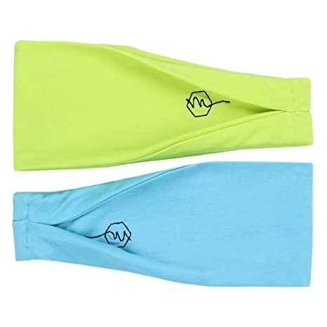 738912e3ee4d4 Maven Thread Women's Headband Yoga Running Exercise Sports Workout Athletic  Gym Wide Sweat Wicking Stretchy No Slip 2 Pack Set Neon Blue and Yellow ...