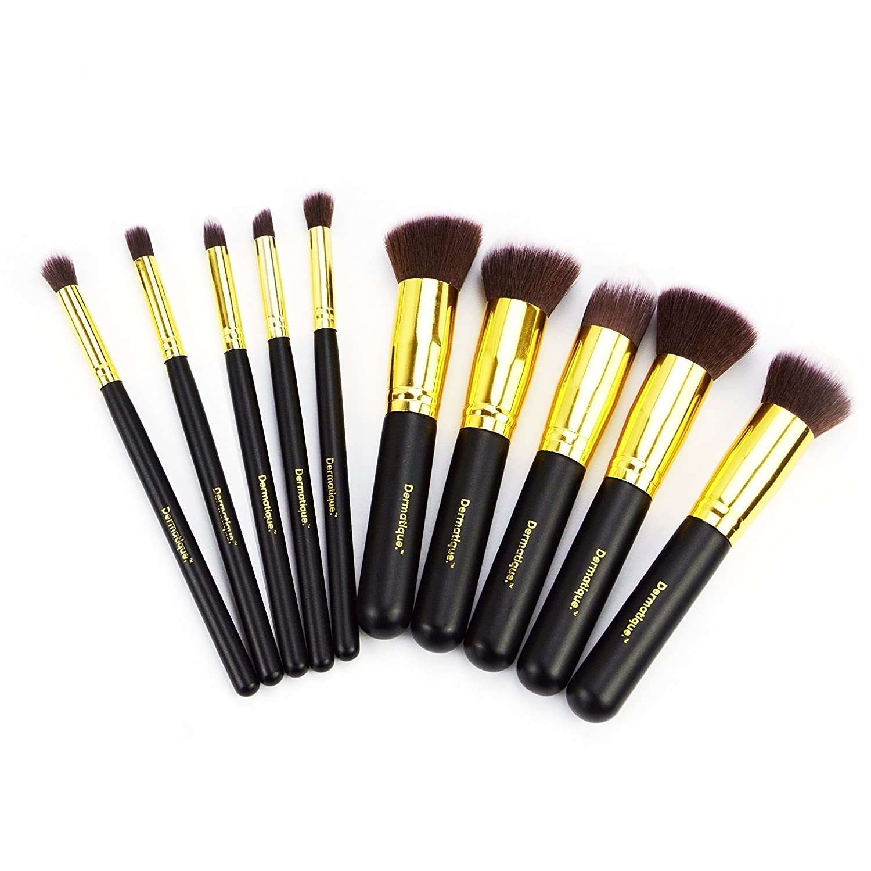 a26876c18d06 Dermatique Makeup Brushes, 10pcs Professional Makeup Brush Set, Premium  Synthetic Kabuki...