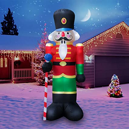 holidayana christmas inflatable giant 8 ft nutcracker christmas inflatable featuring lighted interiorairblown inflatable