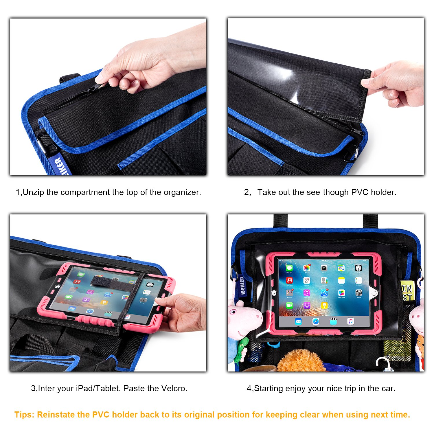 Backseat Cover Kick Mats by WEIKER JXN-WA-02 BLACK - 2 PACKS Car Back Seat Organizer Protector Travel Accessories Large Size Toy Storage Bag with 12.9 Tablet Holder for Kids