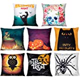 Geefuun 8 Pieces Halloween Throw Pillow Case Plush Velvet Cushion Cover - Holiday Party Favor Gift Decorations Decor…