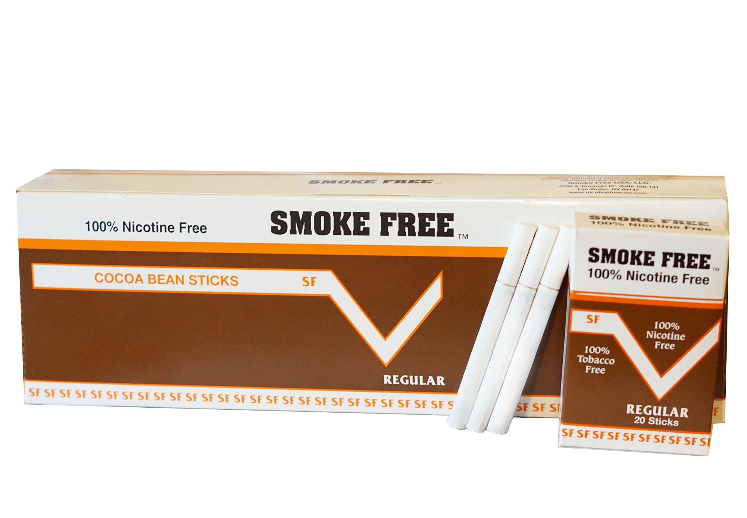 Carton 10 Packs Made in USA Since 1998 100% Nicotine Free(Cocoa Bean Sticks) Regular Flavor by SMOKE FREE
