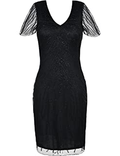 kayamiya Womens Roaring 20s Dress Bead Art Deco Flapper Cocktail Dress