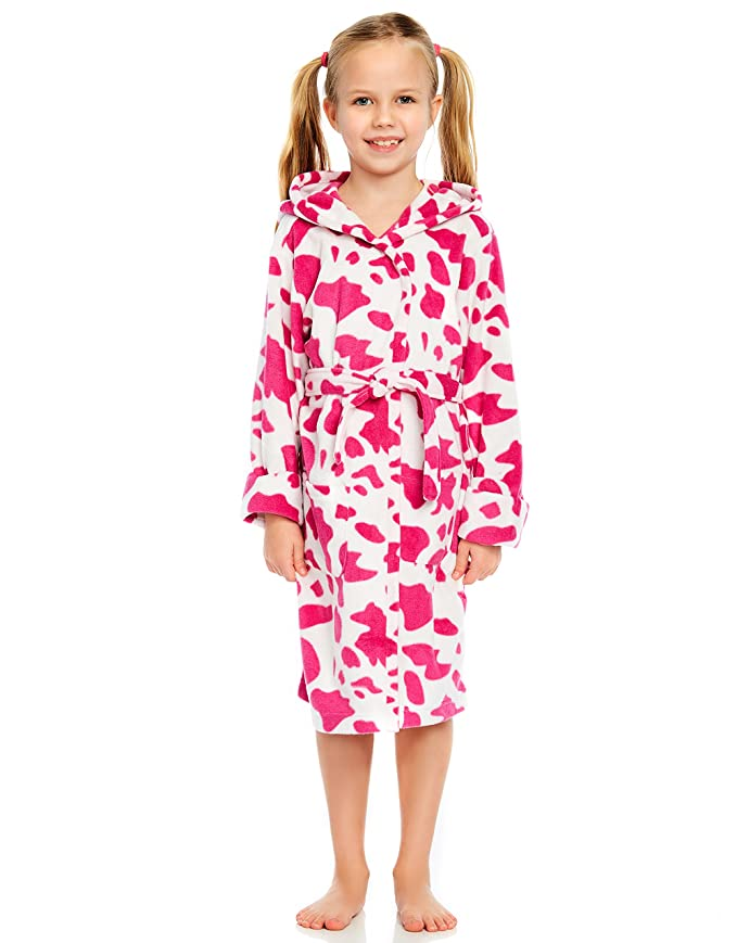 Amazon.com  Leveret Kids Robe Girls Hooded Fleece Sleep Robe Bathrobe (2  Toddler-14 Years) Variety of Colors  Clothing dfe2aa672