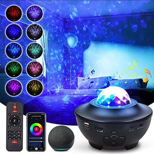 Star Projector, Galaxy Projector for Bedroom, Lumary Smart Star Projector Night Light with Bluetooth Speaker 2.4Ghz Sky Lights Work with Google Assistant & Alexa, Ocean Wave Star Projector for Kids