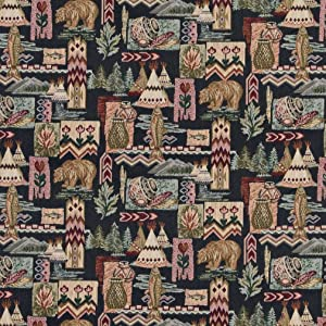 A015 Native American Teepees Bears Fish Pottery Themed Tapestry Upholstery Fabric by The Yard