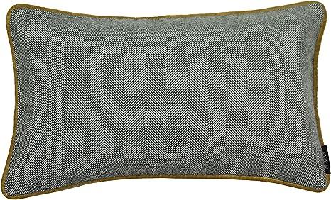 F/üllung 45cm x 20cm in Enteneiblau und Grau Deko Nackenkissen mit Wolle-Gef/ühl Herringbone Nackenrolle im Tweed-Muster inkl McAlister Textiles Boutique Deluxe