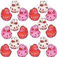 4E's Novelty Bulk Mini Valentine Rubber Duckies Heart Ducks, 24 Pack, Miniature Valentine Decor Party Favors for Kids