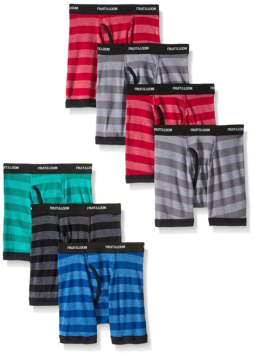 byFruit of the Loom Fruit Of The Loom Boys' Boxer Brief (Pack Of 7) (Assorted Color Stripes With Black Waistband, Small(44-68 lbs/23''-24'' Waist))