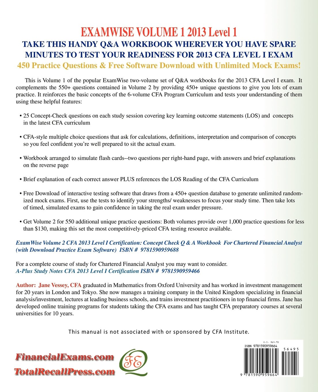 Buy Examwise Volume 1 For 2013 Cfa Level I Certification The First