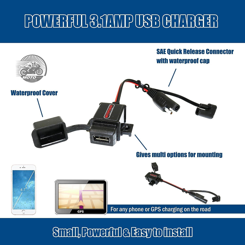 Kit de Cargador USB de 3,1 A con Tapas de Conector SAE para tel/éfono m/óvil GPS MOTOPOWER MP0609AA-UK Tableta Carga en Motocicleta