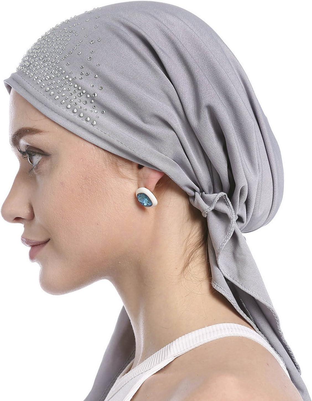 Womens Cotton Head Scarf Turban Cancer Chemo Beanie Hat Fashion Rhinestone Sleep Turban Headwear Tied Bandana Head Hair Loss Wrap Cap Headbands